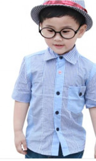 ST-BSC805 Custom-made Patchwork Contrast color ruled kids casual shirts, children short sleeve shirts